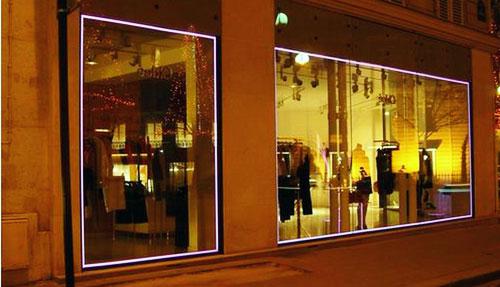 Vitrine de boutique verre électroluminescent