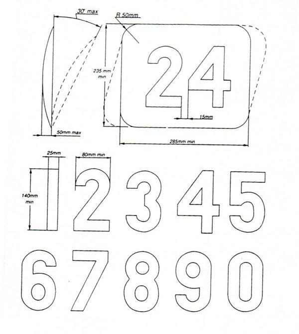 Numéro pour voitures de course