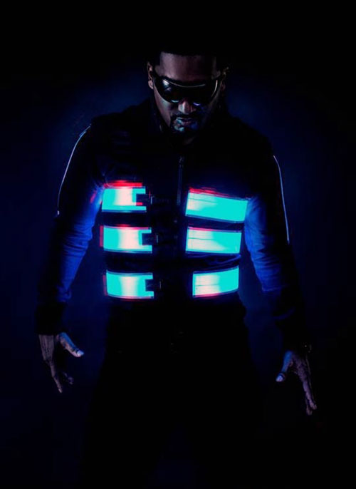Bandes électroluminescentes sur une veste